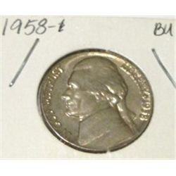 1958 JEFFERSON NICKEL *RARE BU UNC HIGH GRADE*!!