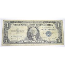 1957 SERIES B $1 SILVER CERTIFICATE SERIAL # T50718451A *PLEASE LOOK AT PICTURE TO DETERMINE GRADE*!