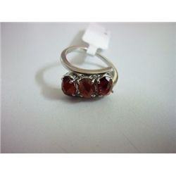 NATURAL 17.75 CTW GARNET RING .925 STERLING SILVER