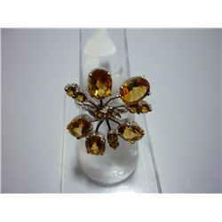 30.00 CTW CITRINE RING .925 STERLING SILVER