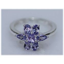 12.73 CTW TANZANITE RING .925 STERLING SILVER