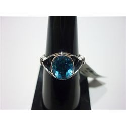 NATURAL 16.25 CTW BLUE TOPAZ RING .925 STERLING SILVER