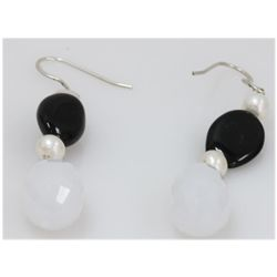 NATURAL 51.20 CTW BLACKONEX, PEARL, SEMIPRECIOUS EARRIN