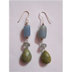 NATURAL 43.15 CTW SEMIPRECIOUS EARRING .925 STERLING SI