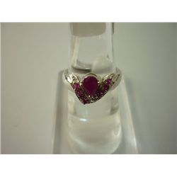 16.75 CTW RUBY RING .925 STERLING SILVER