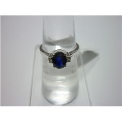 NATURAL 11.00 CTW SAPPHIRE AND DIAMOND RING .925 STERLI