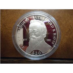 2000 LIBERIA SILVER $20 PROOF PRESIDENT HAYES