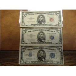 1934-A,53-A & 63 $5 CURRENCY NOTES
