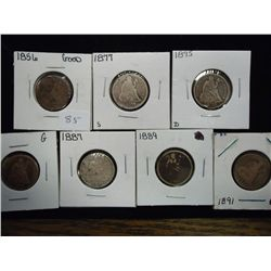 7 ASSORTED SEATED LIBERTY DIMES