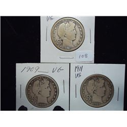 1906,09 & 11 BARBER HALF DOLLARS ALL (VERY GOODS)