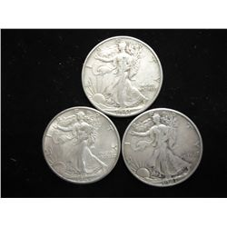 1941-D,45-D & 47-D WALKING LIBERTY HALF DOLLARS