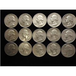 15 ASSORTED WASHINGTON SILVER QUARTERS