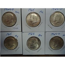 6 ASSORTED 1964 90% SILVER KENNEDY HALF DOLLARS