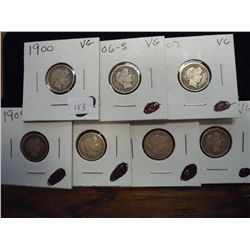 1900,06-S, 3-07,14 & 16 BARBER DIMES ALL (VG)