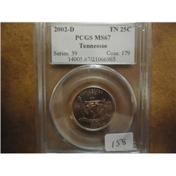 2002-D TENNESSEE QUARTER PCGS MS67