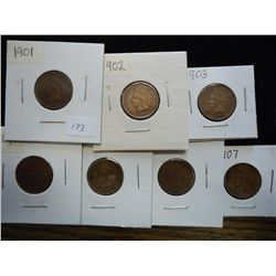1901-07 INDIAN HEAD CENTS ALL VG'S OR BETTER
