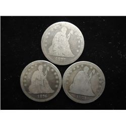 1875,76 & 77-S SEATED LIBERTY QUARTERS