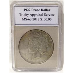 1922 Peace Silver Dollar TAS MS-63