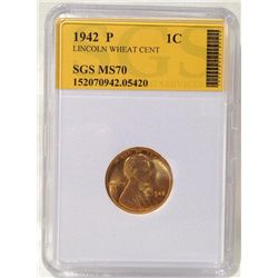 1942 Lincoln Wheat Cent SGS MS70