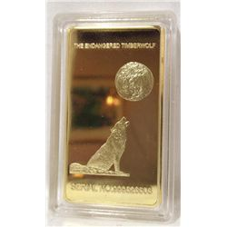 "1 Troy Oz. .999 Fine Gold Bar ""Timber Wolf"""