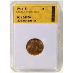 1944 D Lincoln Wheat Cent SGS MS70