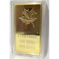1 Troy Ounce 500 Mills .999  Gold Bar