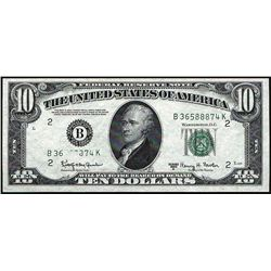 """1950 E $10 Federal Reserve Note """"Obstruction"""""""