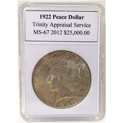 1922 Peace Silver Dollar TAS MS-67