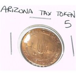 VINTAGE ARIZONA STATE 5 LARGE TAX TOKEN *EXTREMELY RARE MS HIGH GRADE*!!