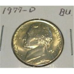 1977-D JEFFERSON NICKEL *RARE BU HIGH GRADE - NICE COIN*!!