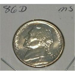 1986-D JEFFERSON NICKEL *RARE MS HIGH GRADE - NICE COIN*!!