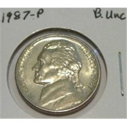 1987-P JEFFERSON NICKEL *RARE BU UNC HIGH GRADE - NICE COIN*!!