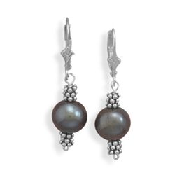 10mm Peacock Cultured Freshwater Pearl and Double Bali Bead Lever Earrings