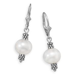 White Cultured Freshwater Pearl with Double Bali Bead Lever Earrings
