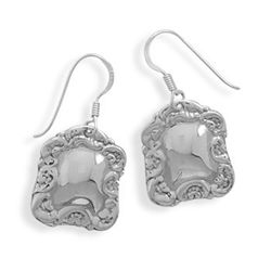 Rectangular Luggage Tag Earrings on French Wire