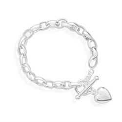 "8"" Toggle with Heart Charm Bracelet"