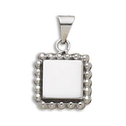 21mm Square Engravable Pendant with Bead Edge