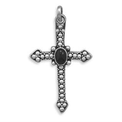 Beaded Cross with Black Onyx