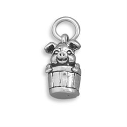 Pig in Bucket Charm