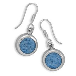 Round Blue Denim Earrings on French Wire