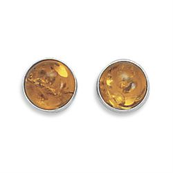 Medium Round Baltic Amber Post Earrings