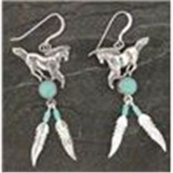 REDUCED!  Genuine Sterling Silver & Turquoise Horse & Feather Dangle Earrings