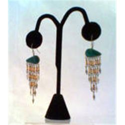 "Silver/Silvertone  Beaded Dangle Earrings  Southwestern Style  2 1/4""  Drop"