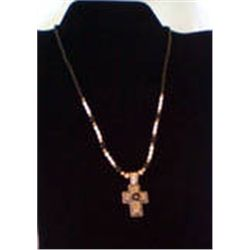 "SOUTHWESTERN 18"" CROSS NECKLACE    SILVER, & GEMSTONE BEADS  CROSS HANGS 1 5/8"""