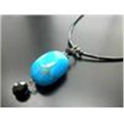 TURQUOISE GEMSTONE PENDANT WITH BLACK GLASS BEADS   AND  STERLING SILVER  CLASP