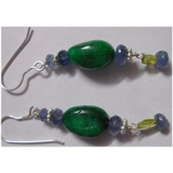 Natural 31.20ct Emerald/Tanzanite/Semi Precious Earring