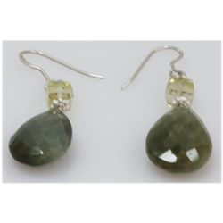 NATURAL 36.60 CTW SEMIPRECIOUS EARRINGS .925 STERLING S