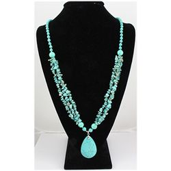 Natural 491.33ctw Turquoise Sterling Silver Necklace