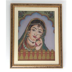 "24 1/2"" x 30 1/2"" Indian Princess Gemstone Painting w/"