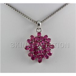 26.08CTW Flower Cluster Pink Ruby Silver Pendant